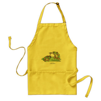 "Tongue Tied Frogs, "" Adult Apron"