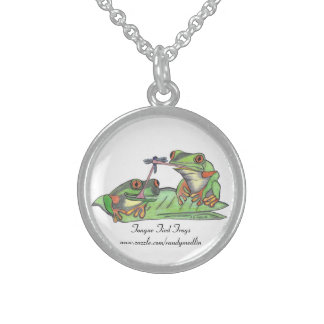 Tongue Tied Frogs...sterling necklace