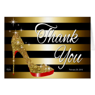 Tonja Glitter Stiletto Thank You | gold Card