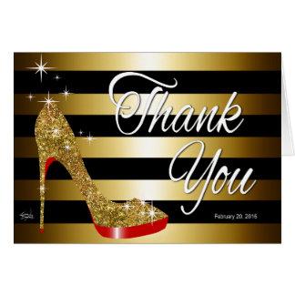 Tonja Glitter Stiletto Thank You | gold Card