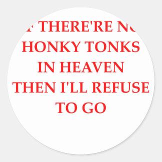 tonk del honky pegatina redonda