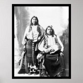 Tonkawa Indian Chief and Wife 1884 Print