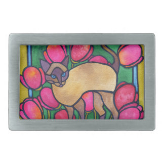 Tonkinese and Tulips Rectangular Belt Buckles