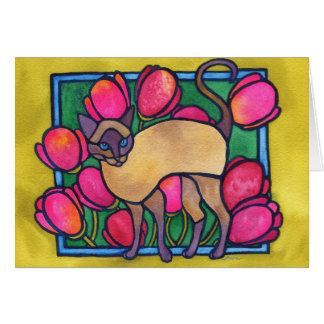 Tonkinese and Tulips Stationery Note Card