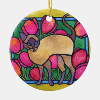 Tonkinese and Tulips Ceramic Ornament