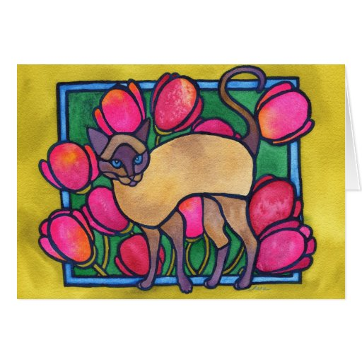 Tonkinese and Tulips Greeting Card