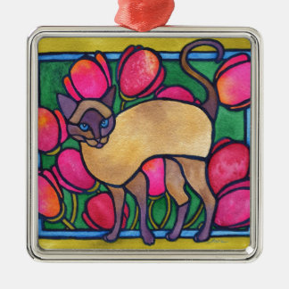 Tonkinese and Tulips Metal Ornament