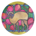 Tonkinese and Tulips Plate