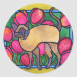 Tonkinese and Tulips Stickers