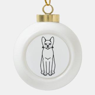 Tonkinese Cat Cartoon Ceramic Ball Christmas Ornament