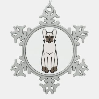 Tonkinese Cat Cartoon Snowflake Pewter Christmas Ornament