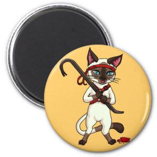 Tonkinese cat Zombie Slayer 2 Inch Round Magnet