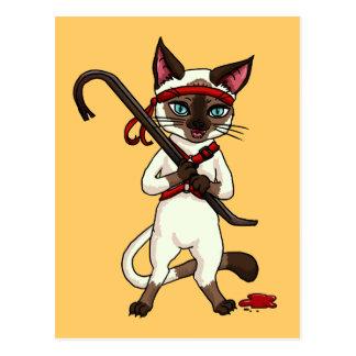 Tonkinese cat Zombie Slayer Postcard