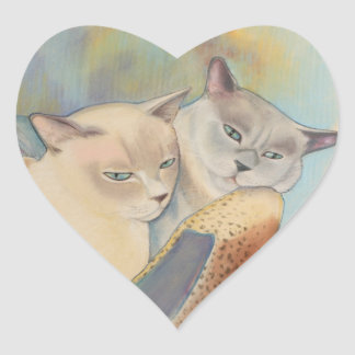 Tonkinese Precious & Romeo Heart Sticker