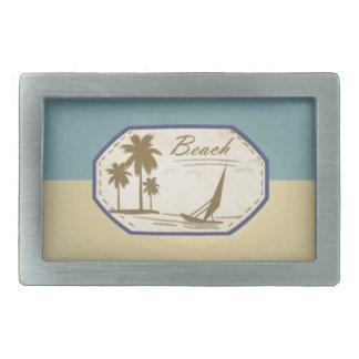 Tono azul de la sepia de la playa del vintage del  hebilla cinturon