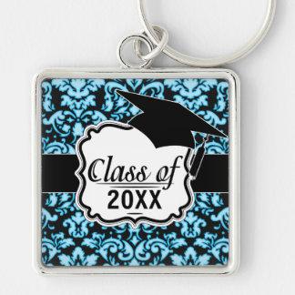 tono blanco azul en modelo negro del damasco llavero personalizado