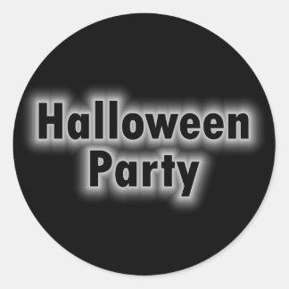 Tono blanco del fiesta de Halloween Etiqueta Redonda