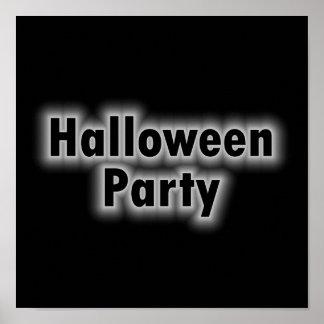 Tono blanco del fiesta de Halloween Póster