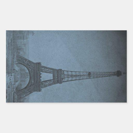 Tono ciánico de Stereoview del vintage de la torre Pegatina Rectangular