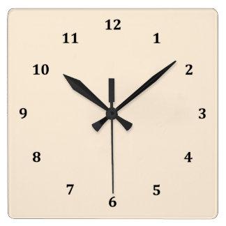 Tono del color del blanco puro reloj cuadrado