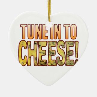 Tono en queso verde adorno navideño de cerámica en forma de corazón