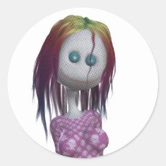Tono medio de la muñeca del pelo 3D Bonga del arco Pegatina Redonda