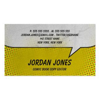 Tono medio del amarillo del cómic del vintage tarjetas de visita