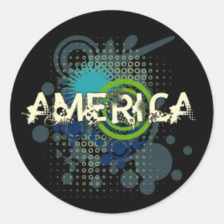 Tono medio moderno América del Grunge Pegatina Redonda