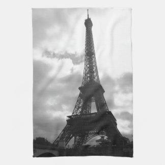 Tono negro de la torre Eiffel Toalla De Cocina