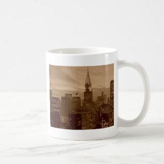 Tono New York City de la sepia Tazas De Café