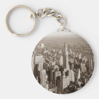 Tono Nueva York de la sepia del vintage Llavero Personalizado