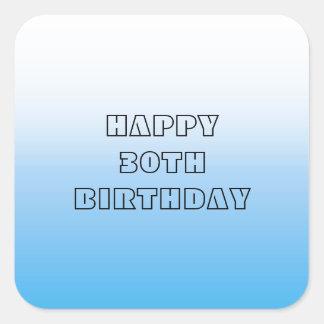 Tono pálido de Bluie dos del trigésimo cumpleaños Calcomania Cuadradas Personalizadas