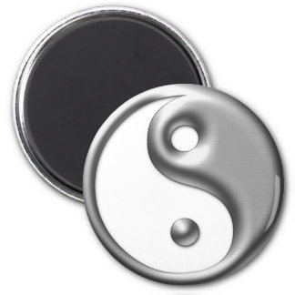 Tono plateado Yin Yang Imán Redondo 5 Cm