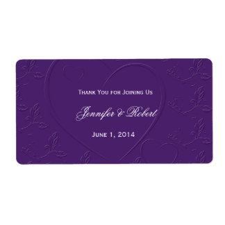 Tono púrpura en la botella de agua ligada Labe del Etiqueta De Envío