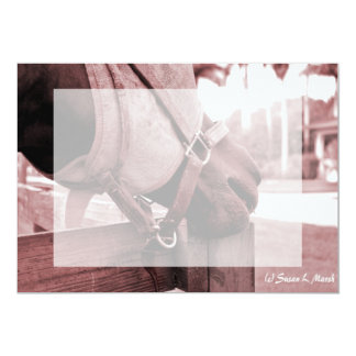 """tono rojo marrón del nom del nom del caballo invitación 5"""" x 7"""""""