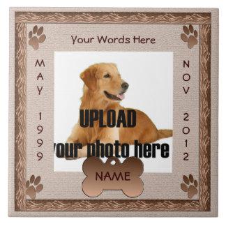 Tonos conmemorativos de Brown del perro Azulejo Cuadrado Grande