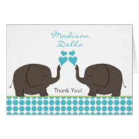 Tons of Love Boy Twins Shower Thank You Notes Cards