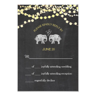TONS OF LOVE/Elephant Chalkboard Lights RSVP Card