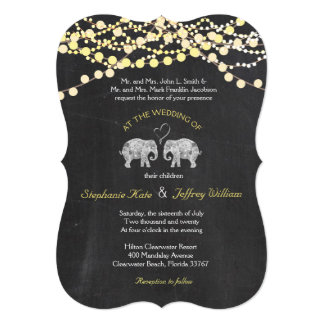 TONS OF LOVE/Elephant Chalkboard Lights Wedding Card