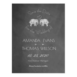 TONS OF LOVE | Elephant Chalkboard Save the Date Postcard