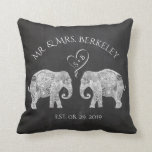 "TONS OF LOVE | Elephant Couple Custom Wedding Gift Throw Pillow<br><div class=""desc"">TONS OF LOVE 