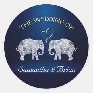 TONS OF LOVE | Elephant Night Light Wedding Custom Classic Round Sticker