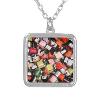 Tons of Nail Polish Bottles Square Pendant Necklace