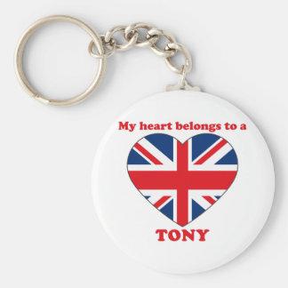Tony Basic Round Button Keychain