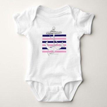 Beach Themed Tony Fernandes 6 mix stripe anchor Baby Bodysuit