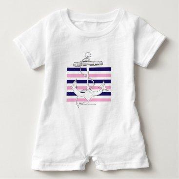 Beach Themed Tony Fernandes 6 mix stripe anchor Baby Romper