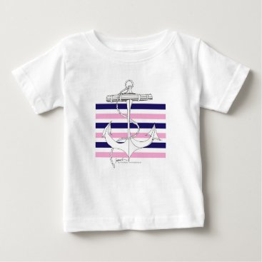 Beach Themed Tony Fernandes 6 mix stripe anchor Baby T-Shirt