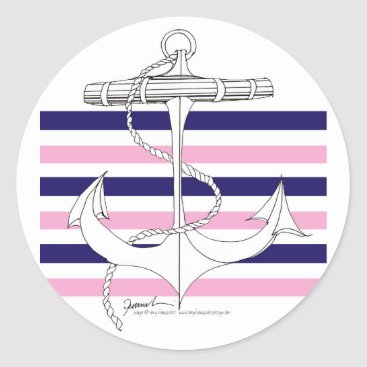 Beach Themed Tony Fernandes 6 mix stripe anchor Classic Round Sticker