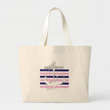 Beach Themed Tony Fernandes 6 mix stripe anchor Large Tote Bag
