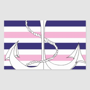 Beach Themed Tony Fernandes 6 mix stripe anchor Rectangular Sticker